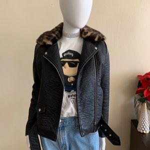 New Look Faux Leather Jacket with Faux Fur Collar